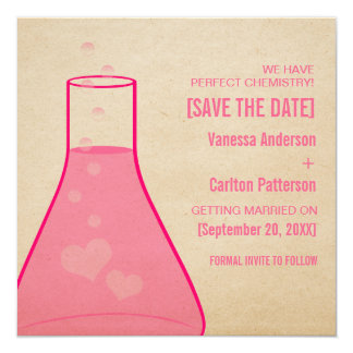 Whimsical Beaker Save the Date Invite, Pink Card
