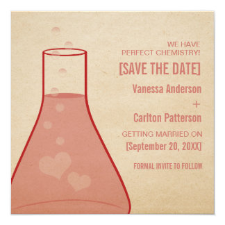 Whimsical Beaker Save the Date Invite, Red Card