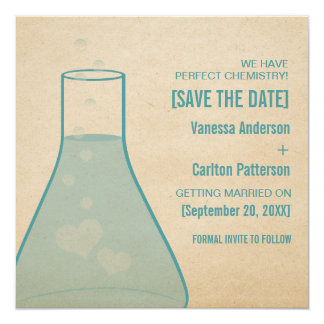 Whimsical Beaker Save the Date Invite, Teal Card