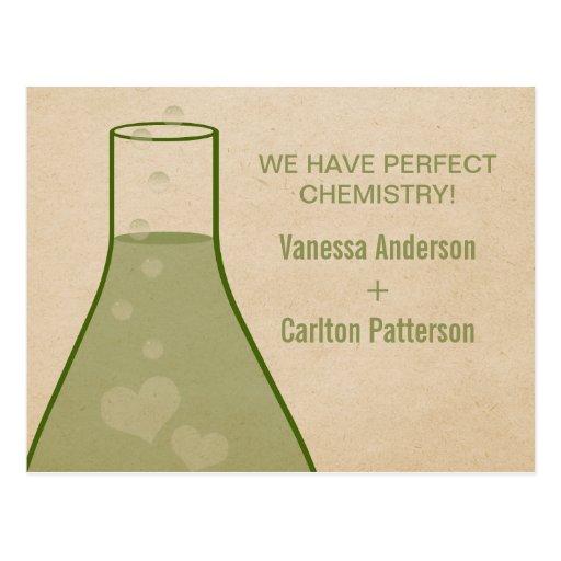 Whimsical Beaker Save the Date Postcard, Green