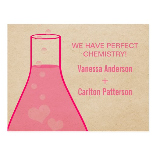 Whimsical Beaker Save the Date Postcard, Pink