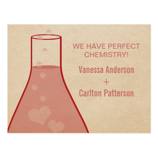 Whimsical Beaker Save the Date Postcard, Red