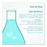 Whimsical Beaker Wedding Invite, Aqua Card