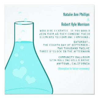 Whimsical Beaker Wedding Invite, Aqua 5.25x5.25 Square Paper Invitation Card