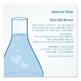 Whimsical Beaker Wedding Invite, Blue Card