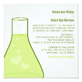 Whimsical Beaker Wedding Invite, Green Card