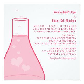 Whimsical Beaker Wedding Invite, Pink Card