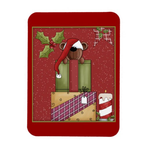 Whimsical bear, gifts and candle rectangular magnets