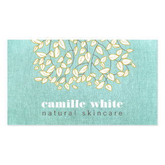 Whimsical Beauty Light Turquoise Linen Look Business Card
