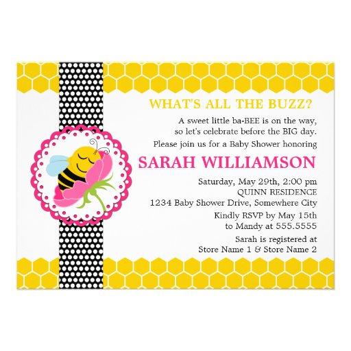 Whimsical Bee Baby Shower Invitation