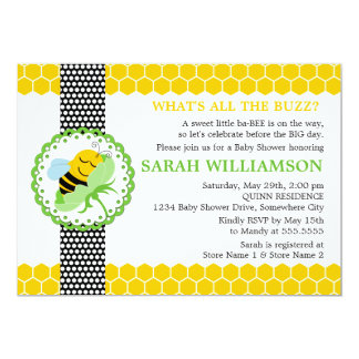 "Whimsical Bee Baby Shower Invitation 5"" X 7"" Invitation Card"