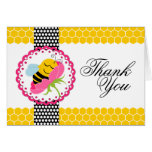 Whimsical Bee Baby Shower Pink Flower Thank You Greeting Card