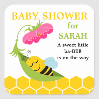 Whimsical Bee Baby Shower Stickers
