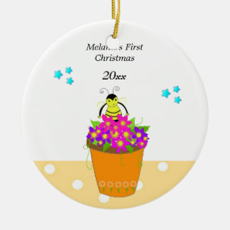 Whimsical Bee Flower Pot Baby's First Christmas Ceramic Ornament