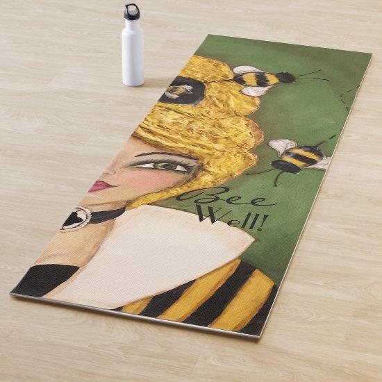 Whimsical Bee Hive Cute Girl Mixed Media Artistic Yoga Mat