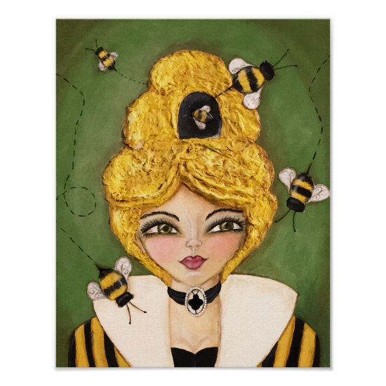 Whimsical Bee Hive Girl Mixed Media Green Yellow Poster