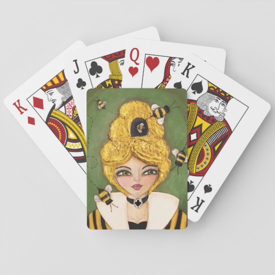 Whimsical Bee Hive Girl Mixed Media Yellow Stripes Playing Cards