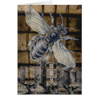 Whimsical Beehive Vintage Honey Bee Beekeeping Art Card