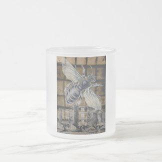 Whimsical Beehive Vintage Honey Bee Beekeeping Art 10 Oz Frosted Glass Coffee Mug