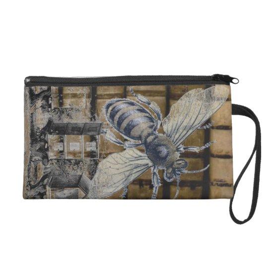 Whimsical Beehive Vintage Honey Bee Beekeeping Art Wristlet