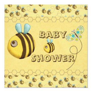 Whimsical Bees and Butterfly Baby Shower Card