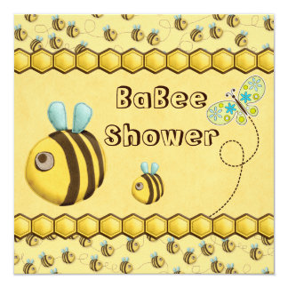 Whimsical Bees and Butterfly Baby Shower Announcements