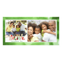 Whimsical BELIEVE, Green Bokeh - 2 Photos Card