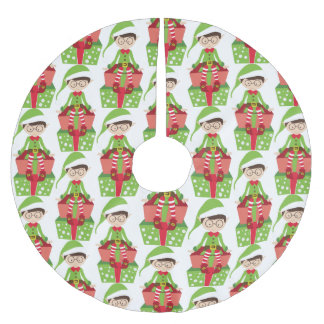 Whimsical Bespeckled Elf Brushed Polyester Tree Skirt