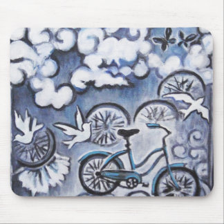 Whimsical Bicycle Painting Products Mouse Pad