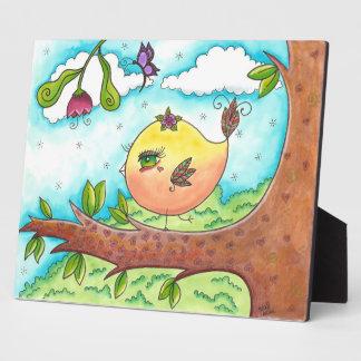 Whimsical Big-eyed Bird Plaque