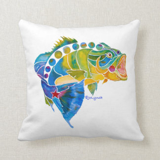 Whimsical Big Mouth Bass Gifts Throw Pillow