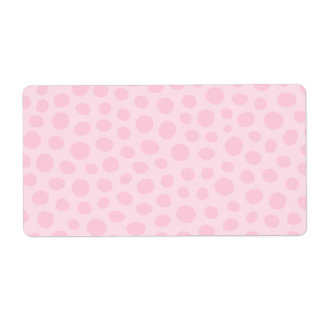 Whimsical big pale pink polka dot dots pattern label