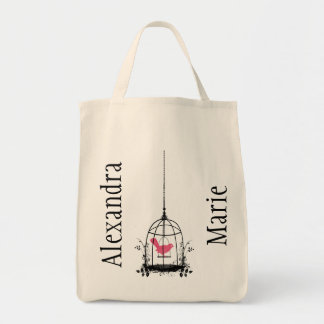 Whimsical Bird Cage Reuseable Organic Shopping Bag