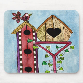 Whimsical Bird House Mouse Pad