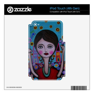 Whimsical Bird Lady by Prisarts iPod Touch 4G Decals