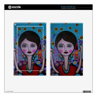 Whimsical Bird Lady by Prisarts Kindle Fire Decals