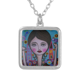 Whimsical Bird Lady by Prisarts Pendants