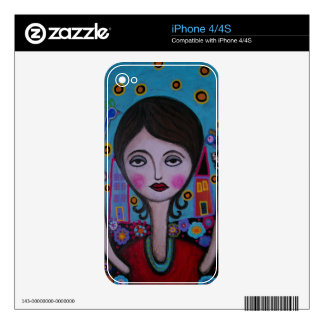 Whimsical Bird Lady by Prisarts Skin For The iPhone 4