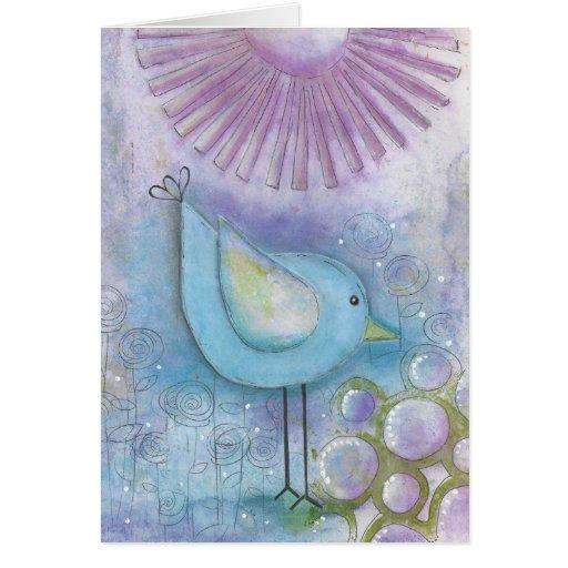 Whimsical Bird Mixed Media Art Greeting Card