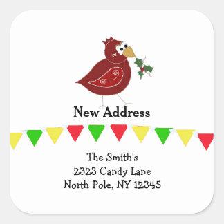 Whimsical Bird New Address Square Sticker