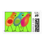 Whimsical Bird Postage Stamps