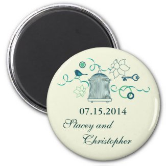 Whimsical Birdcage Save the Date Magnet magnet