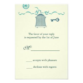 Whimsical Birdcage Wedding RSVP Card Invite