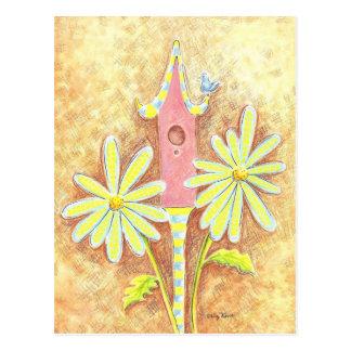 Whimsical Birdhouse Postcard