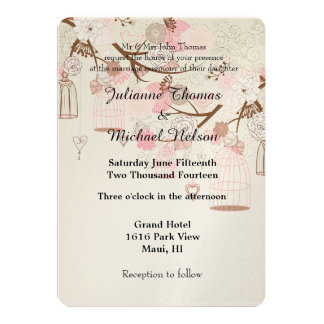 Whimsical Birds and Bird Cages Wedding Card