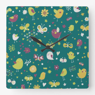 Whimsical Birds and Butterflies Square Wall Clocks