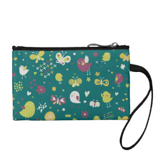 Whimsical Birds and Butterflies Coin Purse