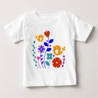 Whimsical Birds and Flowers Baby T-Shirt
