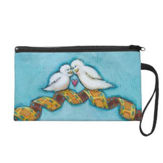 Whimsical birds in love romantic fun original art wristlet