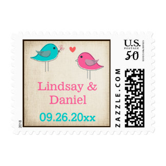 Whimsical Birds in Love Wedding Postage 2